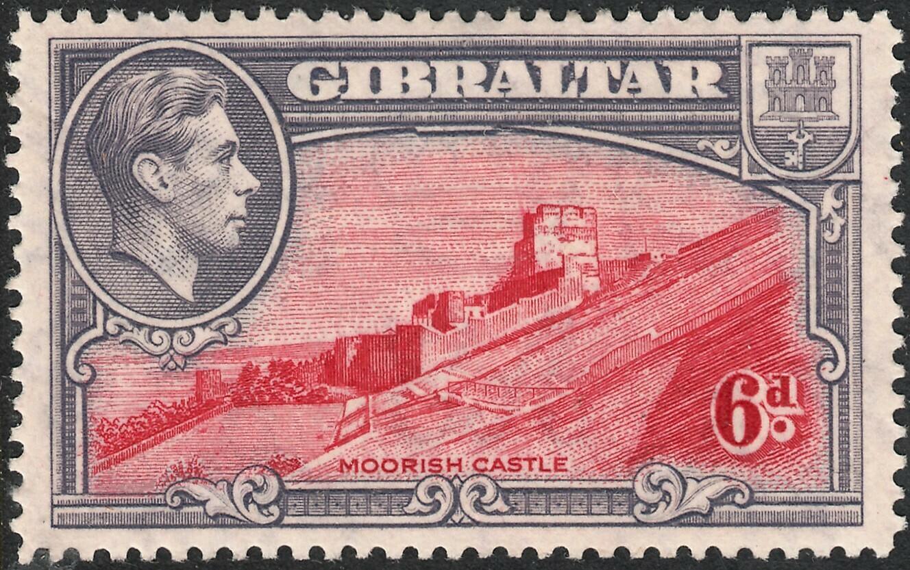 Gibraltar 1938 KGVI 6d Carmine & Grey-Violet Perf 14 MLH