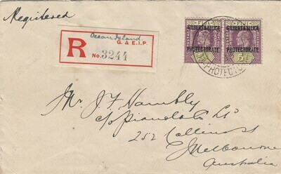 Gilbert & Ellice Islands 1913 KGV 5d Pair on Registered Cover to Melbourne