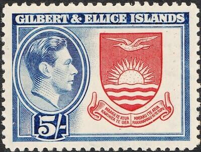 Gilbert & Ellice Islands 1939 KGVI 5/- Coat of Arms MVLH