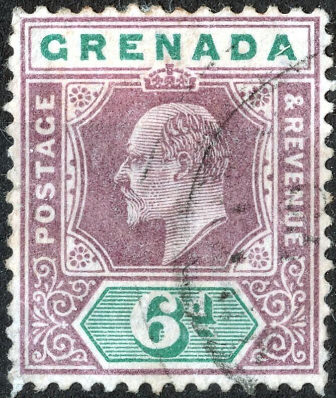 Grenada 1902 KEVII 6d Dull Purple & Green VFU