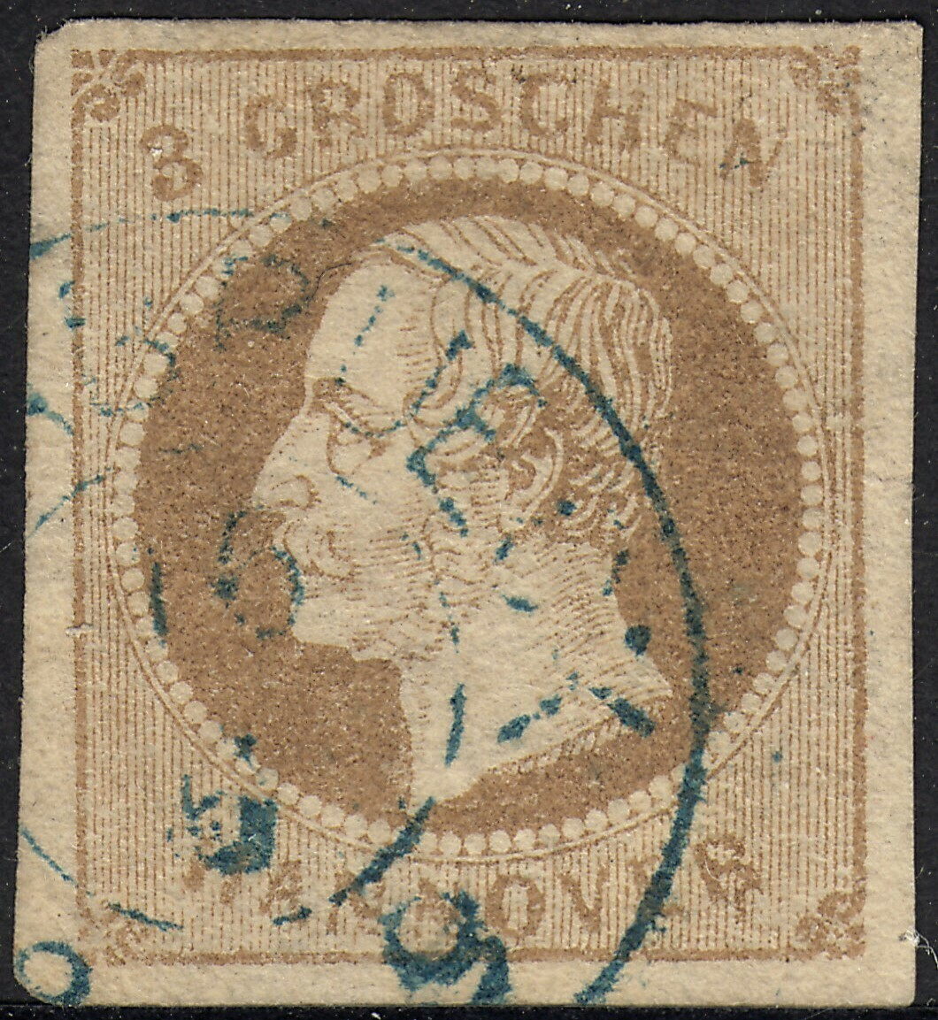 Hanover 1861 3gr Light Brown 4 Large Margins VFU