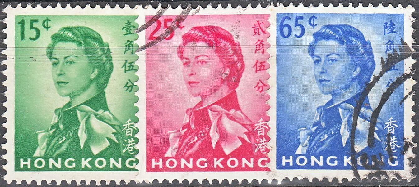 Hong Kong 1962 QEII 15c 25c & 65c Fine Used