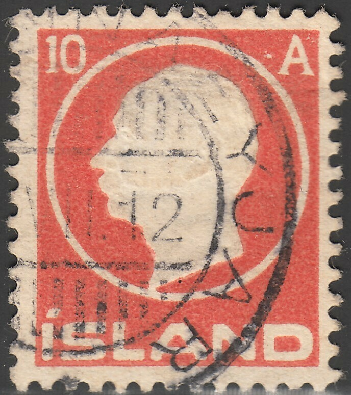 Iceland 1912 10a Red King Frederick VIII Used