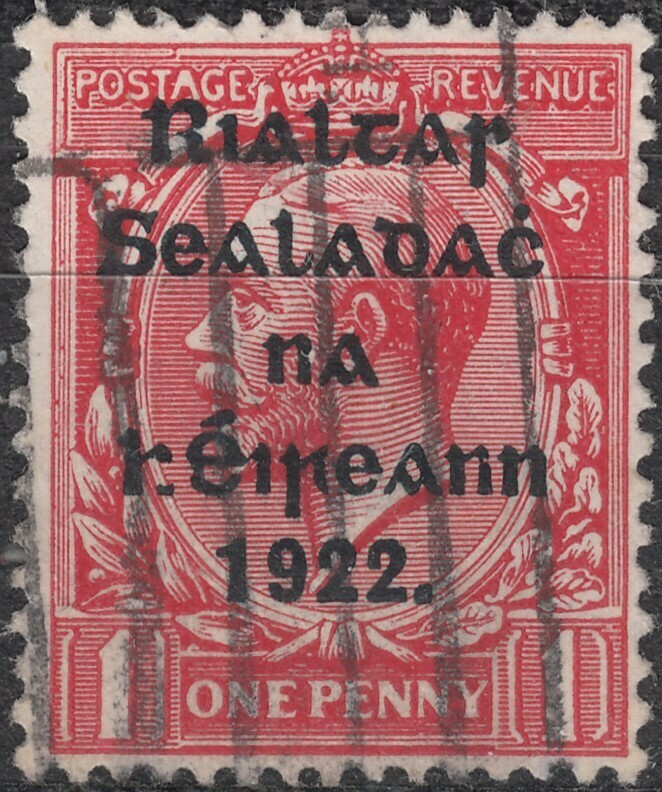 Ireland 1922 Thom Overprint on GB 1d KGV with Broken H Used