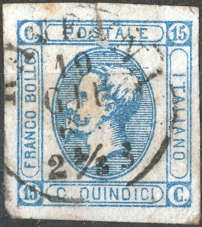 Italy 1863 15c Blue 4 Margins Used