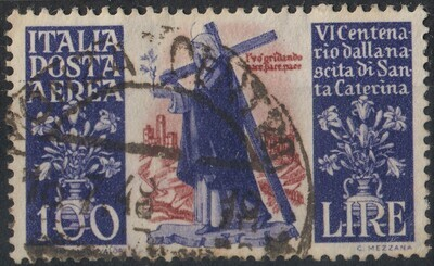 Italy 1948 100l. Violet & Brown 600th Birth Centenary St Catherine of Siena