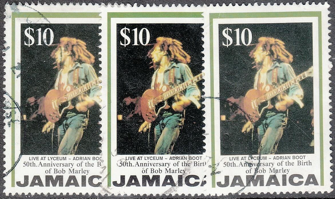Jamaica 1995 QEII $10 Bob Marley 50th Birth Commemoration x 3 Used