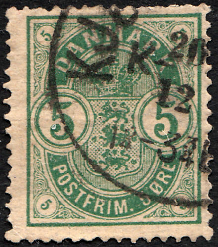 Denmark 1882 5ore Green Inverted Watermark Used