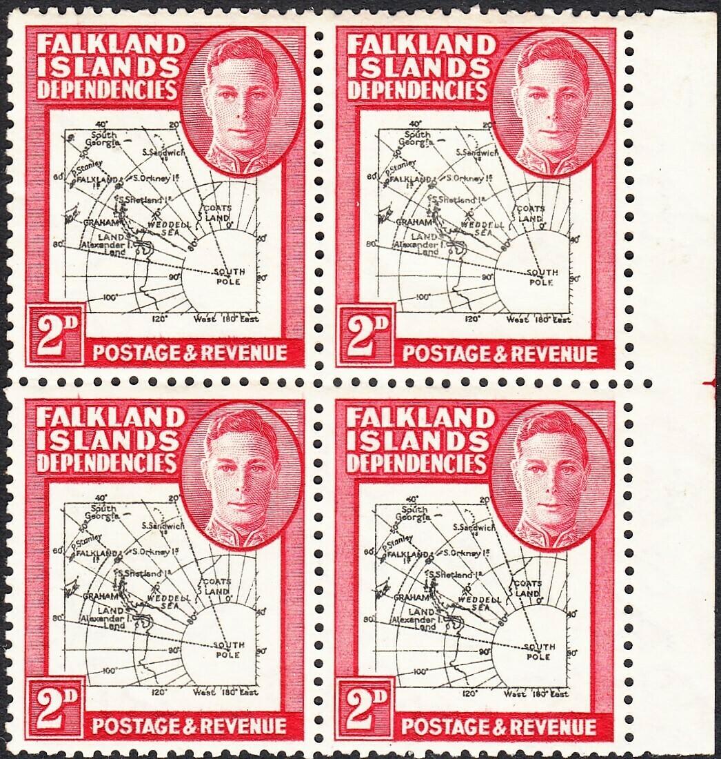 Falkland Is Dependencies 1946 KGVI 2d Map Block 4 Two Varieties on One Stamp MUH