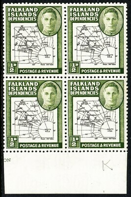 """Falkland Is Dependencies 1946 KGVI ½d Green Block of 4 with """"Poke"""" Flaw MUH"""