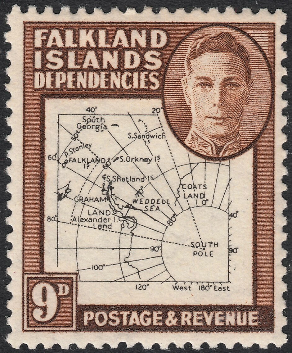 Falkland Is Dependencies 1948 KGVI 9d Map with Dot on T Flaw MH