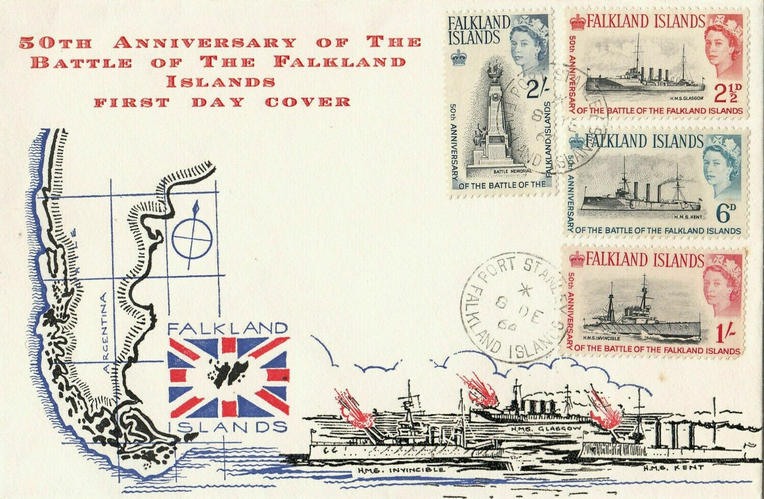 Falkland Islands 1964 50th Ann. of Battle of the Falklands FDC