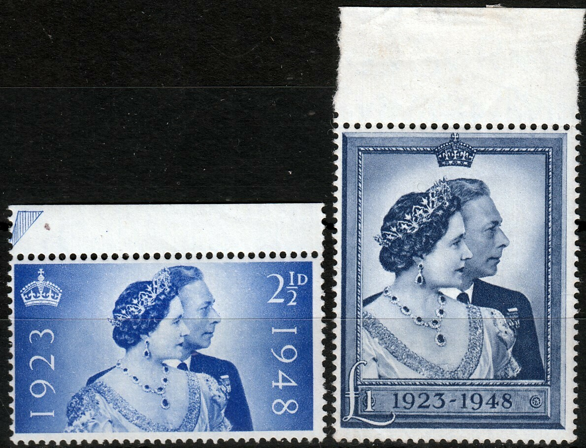 GB 1948 KGVI Royal Silver Wedding Set Marginal MUH