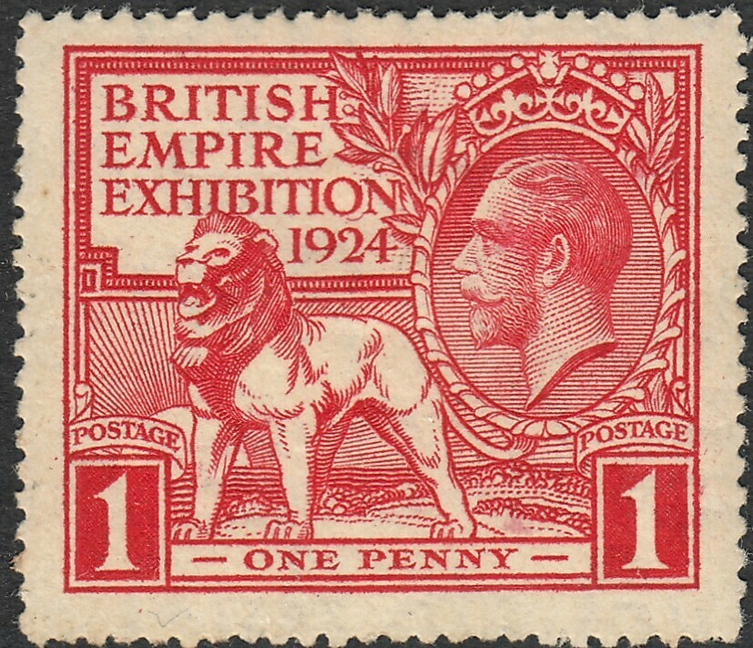 GB 1924 KGV 1d Wembley Exhibition with Tail on N Flaw MH