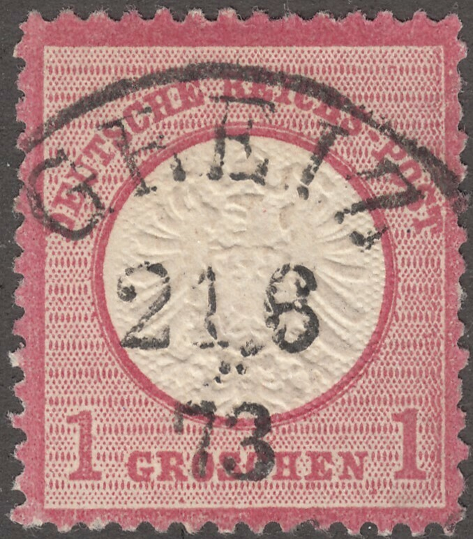 Germany 1872 1g Red Arms Used with Greiz Cancel