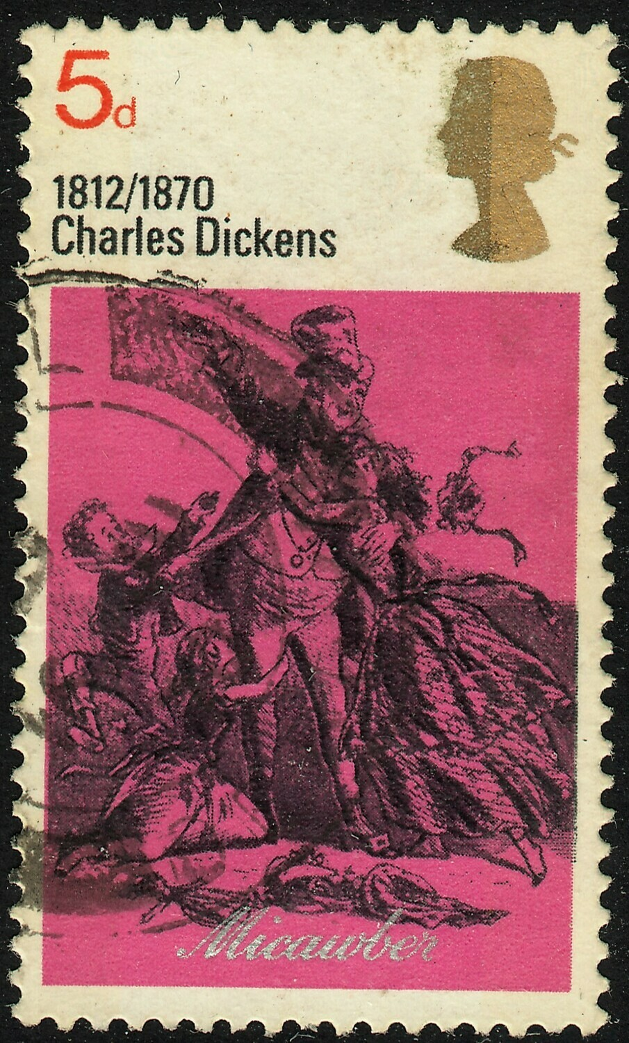 GB 1970 QEII 5d Dickens with Misplaced Embossing on Queens Head Used