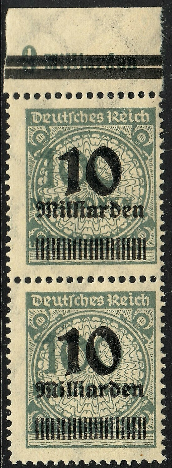 Germany 1923 10Md on 100M Grey Marginal Pair with Shifted Vignette MUH/MH