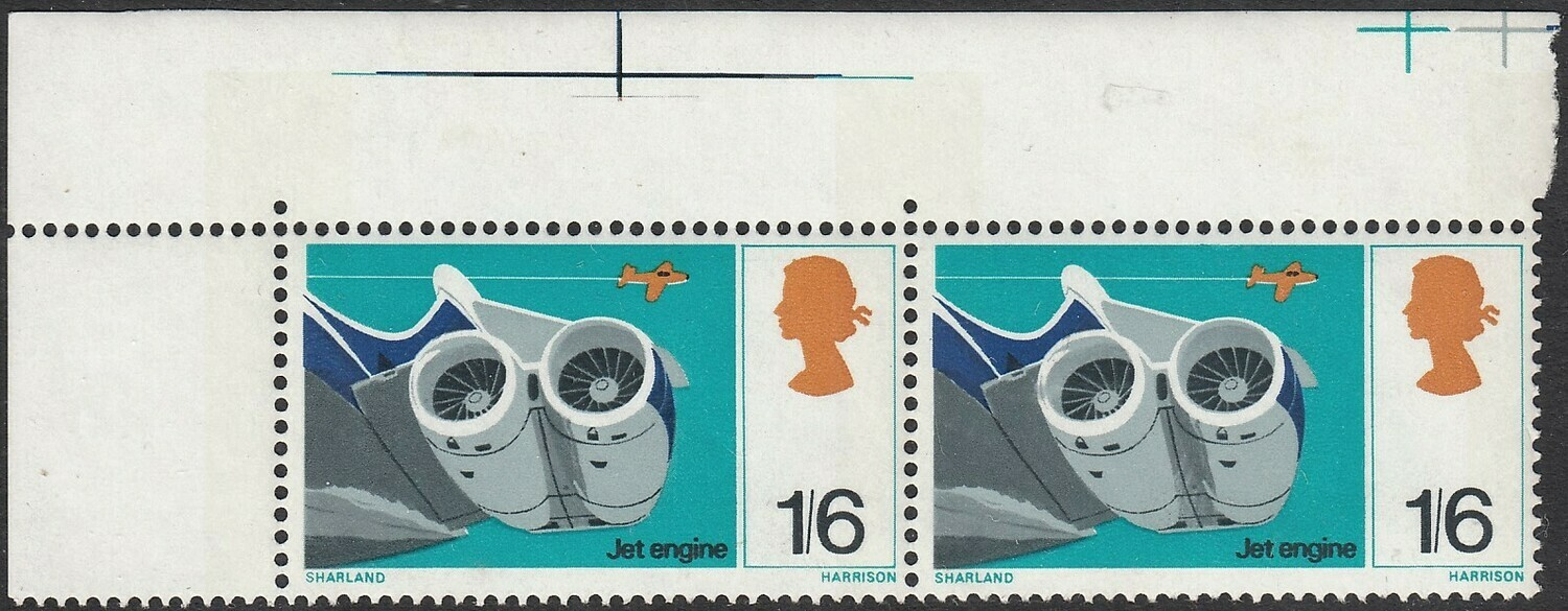 GB 1967 QEII 1/6d British Inventions Positional Pair with Variety MUH