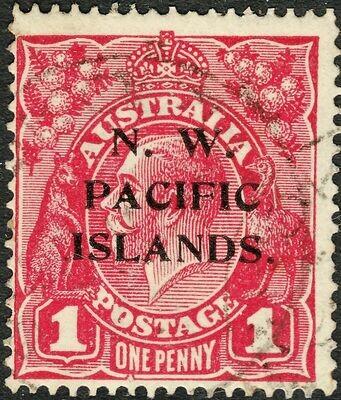 New Guinea NWPI Overprint 1918 KGV 1d Carmine-Red with Secret Mark Variety VFU
