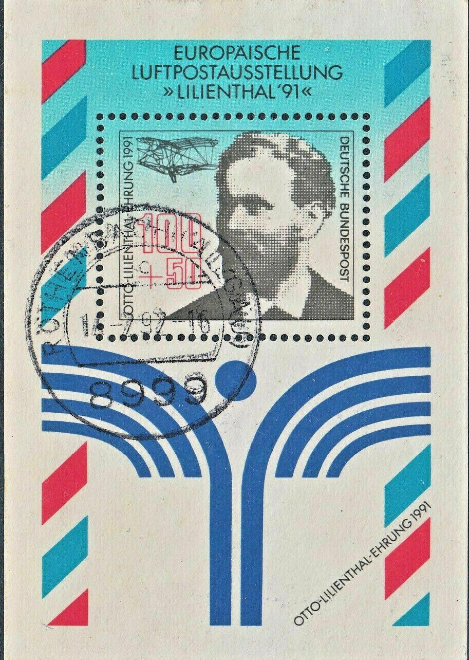 Germany 1991 100pf+50pf Otto Lilienthal Miniature Sheet VFU