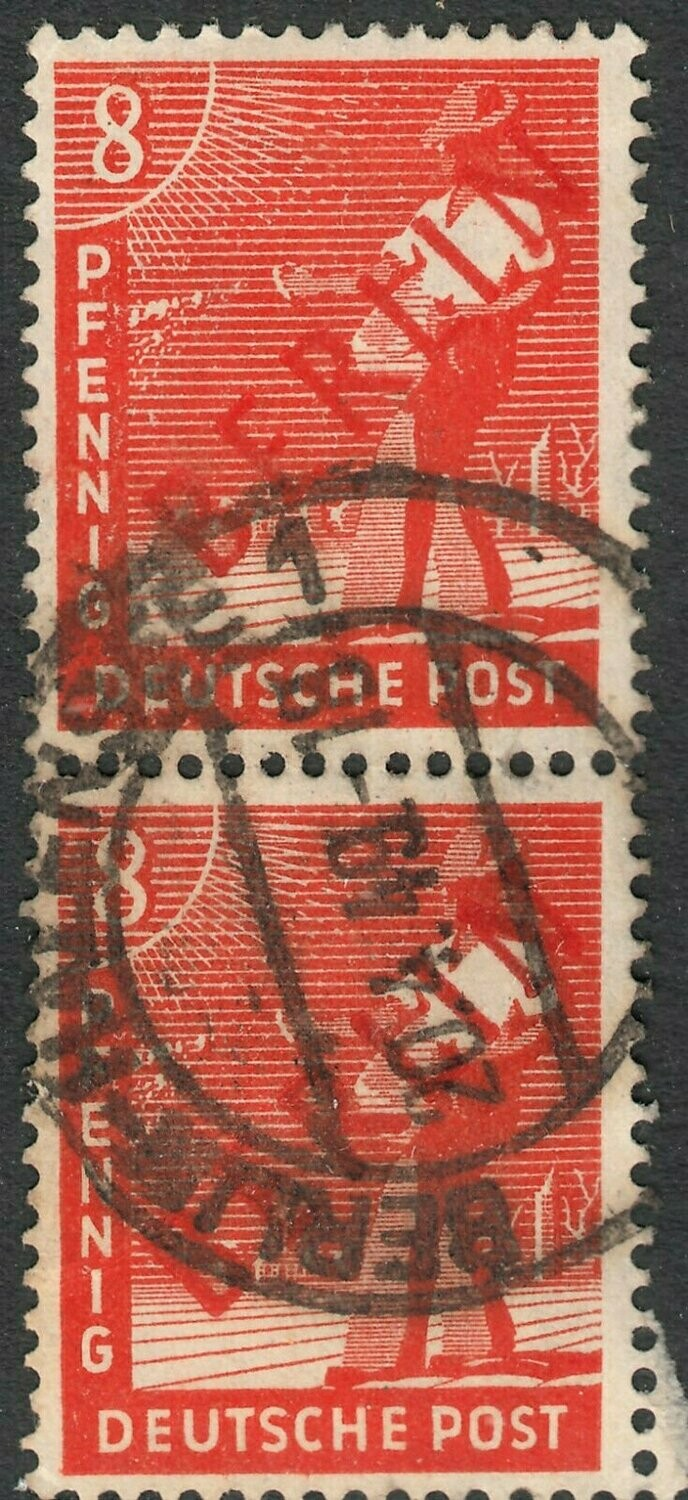 Germany (Berlin) 1948 8f Red with Red Overprint Pair FU