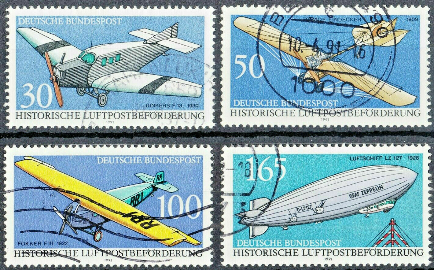 Germany 1991 Historic Mail Aircraft Set FU