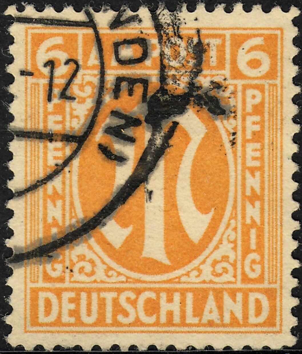 Germany (British/American Zone) 1945 6pf Yellow-Orange Used