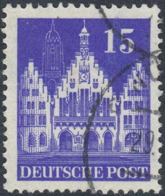 Germany (British/American Zone) 1951 15pf Dark Purple Scarce Shade VFU