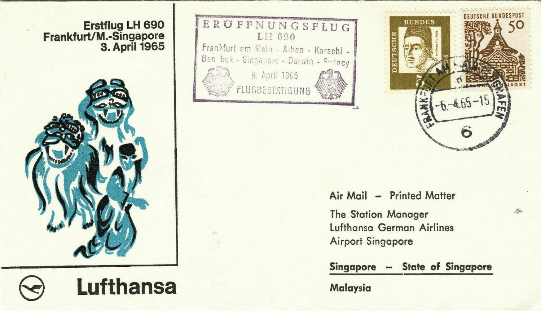 Germany 1965 First Flight Cover Lufthansa Frankfurt-Singapore