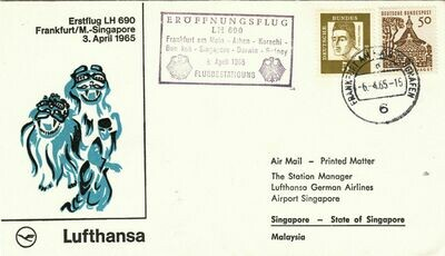 Germany 1965 First Flight Cover Lufthansa Frankfurt-Singapore