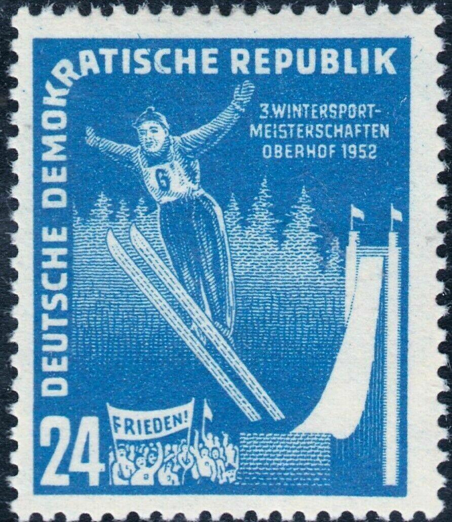 Germany (East) 1952 24pf Blue Ski Jumper MUH