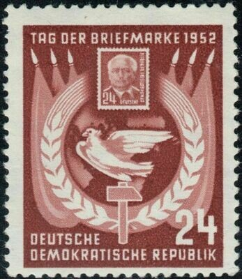 Germany (East) 1952 24pf Brown Stamp Day MH