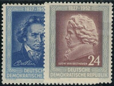 Germany (East) 1952 125th Anniversary Death Anniversary of Beethoven Set MUH