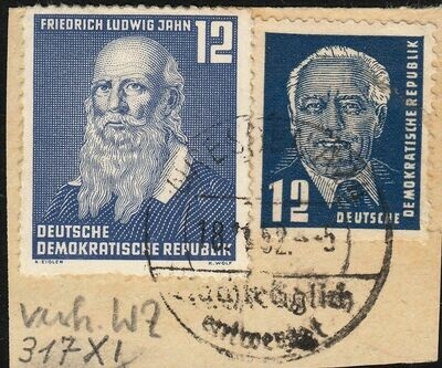 Germany (East) 1952 12pf Jahn and 12pf Pieck on Piece