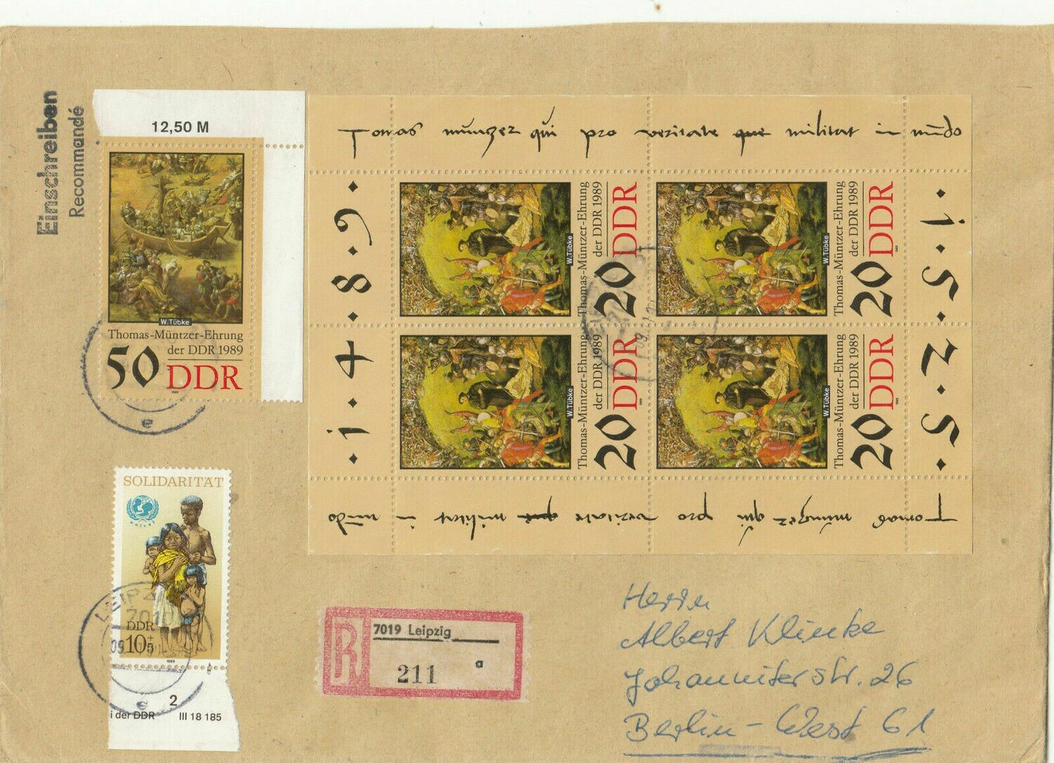 Germany (East) Registered Cover to West Berlin Attractive Franking