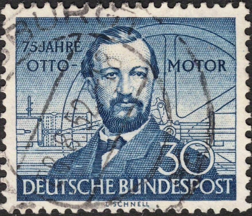 Germany (West) 1952 30pf 75th Anniv of Otto Gas Engine Used