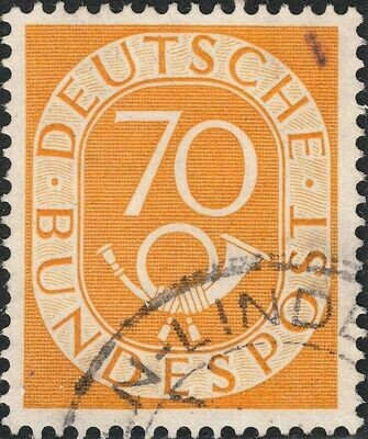 Germany (West) 1951 70pf Yellow Numeral and Posthorn VFU