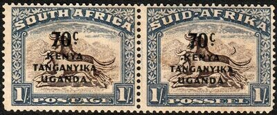 KUT 1942 70c on 1/- Pair with Crescent Moon Flaw