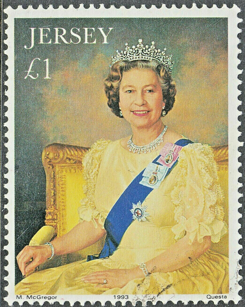 Jersey 1993 QEII £1 40th Anniversary of the Coronation VFU