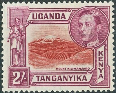 KUT 1944 KGVI 2/- Mount Kilimanjaro Perf 13¾x13¼ MH