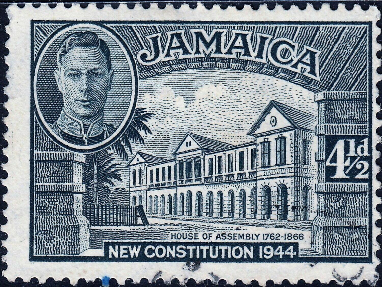Jamaica 1946 KGVI 4½d Slate Perf 13 VFU