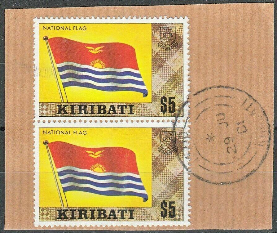 Kiribati 1979 QEII $5 National Flag Pair Used on Piece