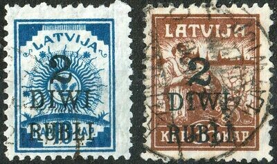 Latvia 1920 Surcharges Set of 2 Used