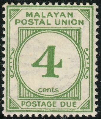 Malayan Postal Union 1936 KGV 4c Green Postage Due MH