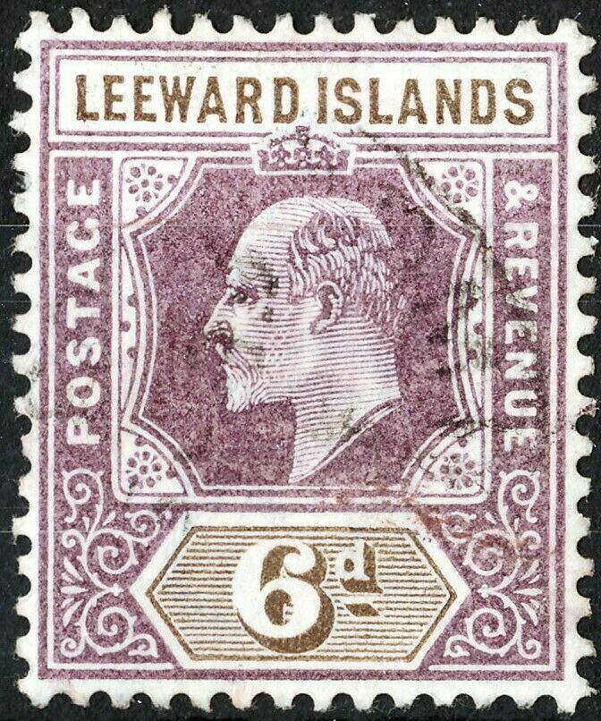 Leeward Islands 1902 KEVII 6dDull Purple & Brown FU