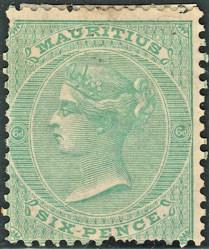 Mauritius 1863 QV 6d Blue-Green MNG Spacefiller