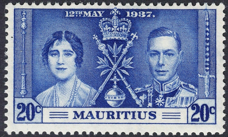 Mauritius 1937 KGVI 20c Coronation with Line Through Sword Variety MH