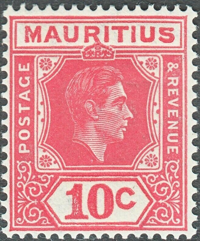 Mauritius 1942 KGVI 10c Pale Reddish Rose Perf 15x14 Sliced S Variety MH Scarce