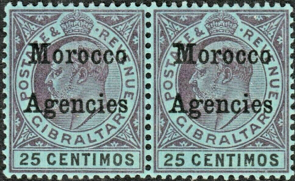 Morocco Agencies 1903 KEVII 25c Purple and Black on Blue with Broad Top to M MH