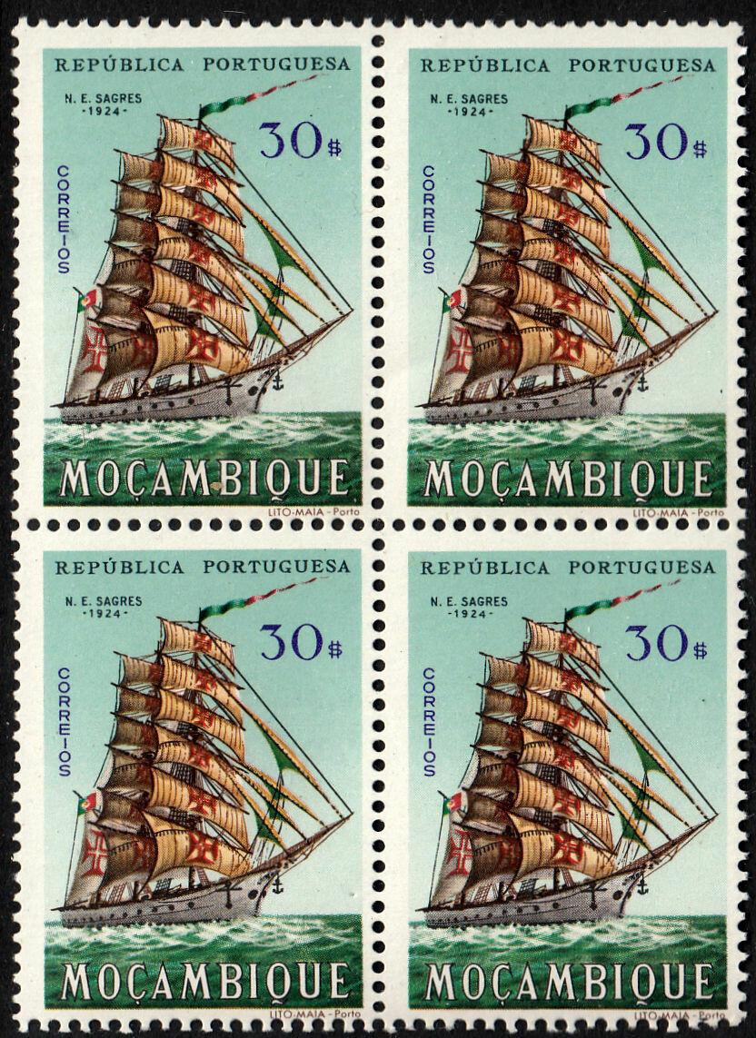 "Mozambique 1963 30e Cadet Barque ""Sagres I"" Block of 4 MUH"